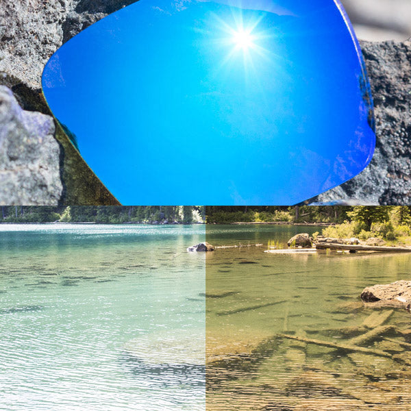 non-polarized ice blue lenses reflecting the sun and showing a comparison of the tint looking through the lens versus the standard view without the lens