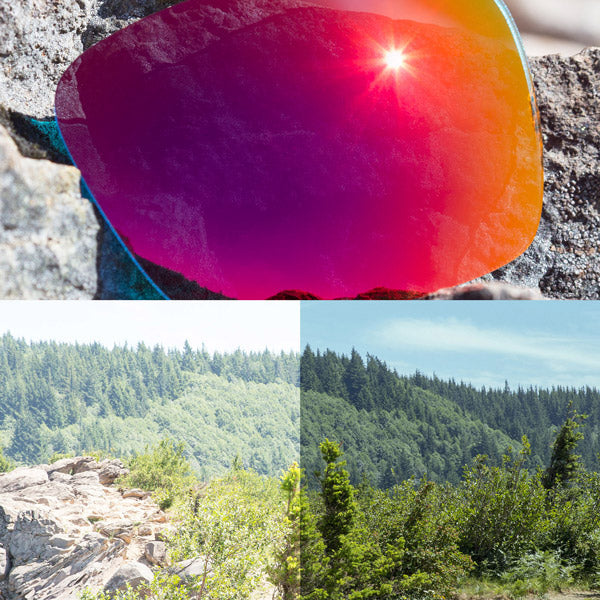 non-polarized midnight sun lenses reflecting the sun and showing a comparison of the tint looking through the lens versus the standard view without the lens