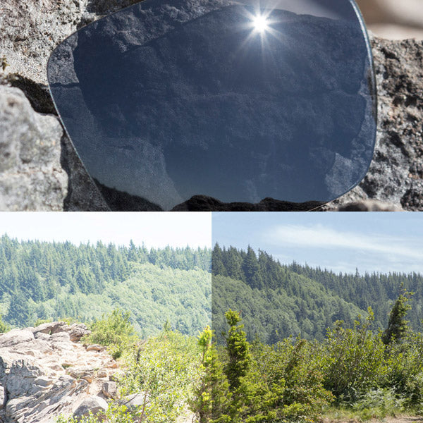 non-polarized slate grey lenses reflecting the sun and showing a comparison of the tint looking through the lens versus the standard view without the lens