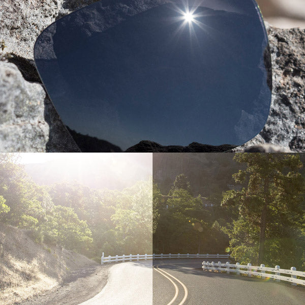 non-polarized stealth black lenses reflecting the sun and showing a comparison of the tint looking through the lens versus the standard view without the lens