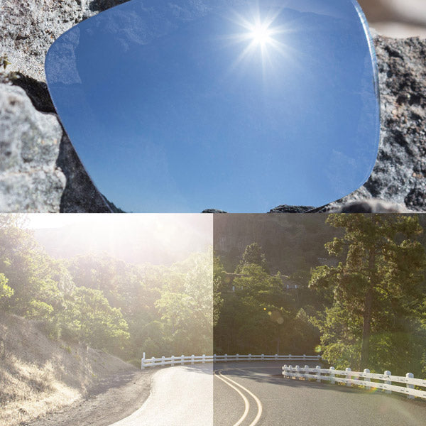 non-polarized titanium lenses reflecting the sun and showing a comparison of the tint looking through the lens versus the standard view without the lens