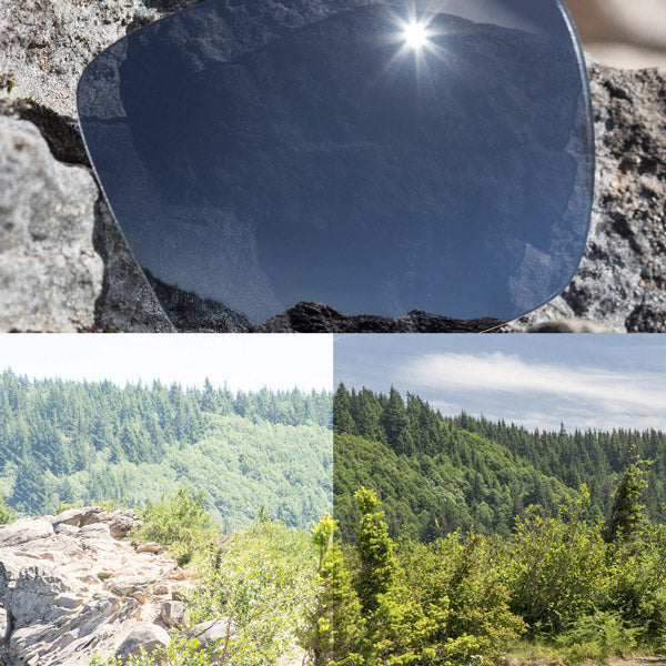 polarized black chrome lenses reflecting the sun and showing a comparison of the tint looking through the lens versus the standard view without the lens