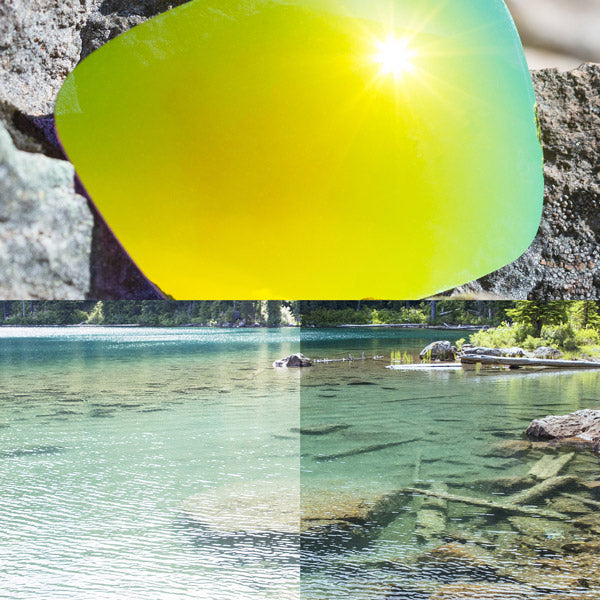 polarized bolt gold lenses reflecting the sun and showing a comparison of the tint looking through the lens versus the standard view without the lens