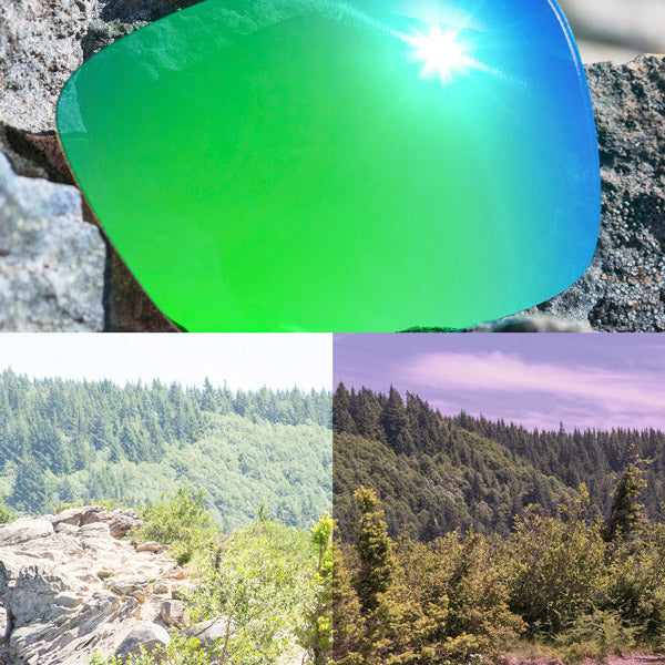 polarized emerald green lenses reflecting the sun and showing a comparison of the tint looking through the lens versus the standard view without the lens