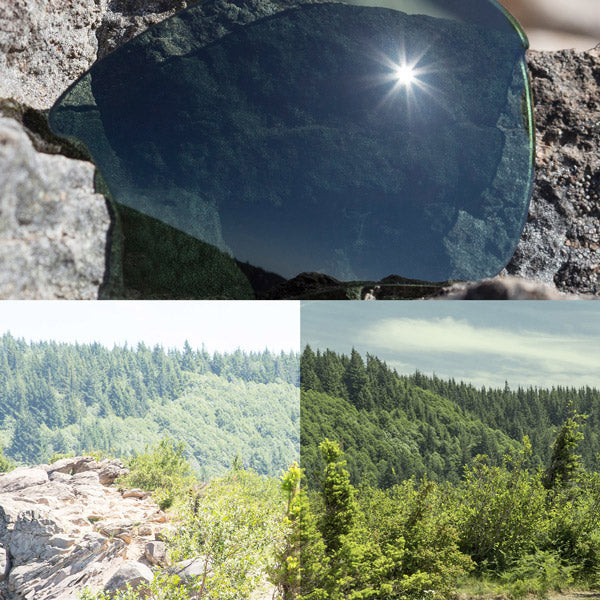polarized grey green lenses reflecting the sun and showing a comparison of the tint looking through the lens versus the standard view without the lens