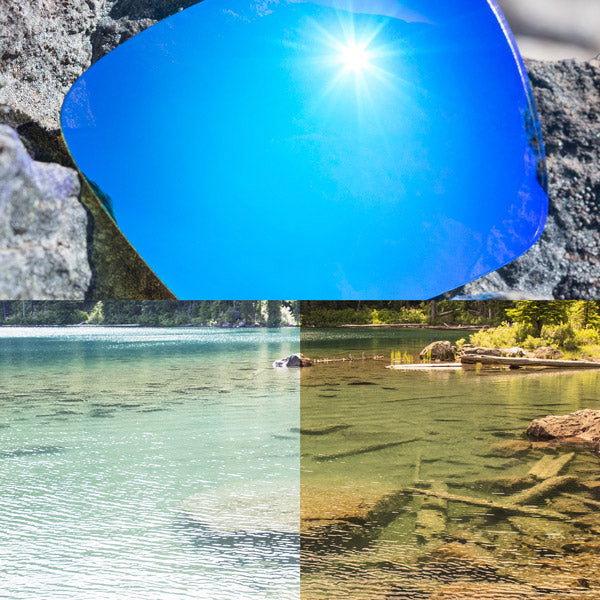 polarized ice blue lenses reflecting the sun and showing a comparison of the tint looking through the lens versus the standard view without the lens