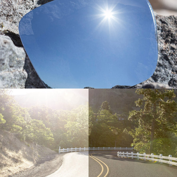 polarized titanium lenses reflecting the sun and showing a comparison of the tint looking through the lens versus the standard view without the lens