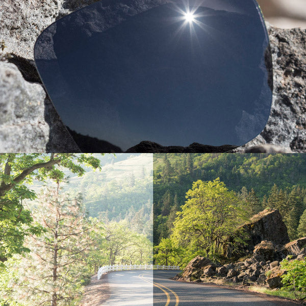 elite polarized stealth black lenses reflecting the sun and showing a comparison of the tint looking through the lens versus the standard view without the lens
