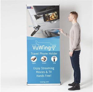 man standing in front of the vuwing perfect travel phone holder showcase banner open insert use plane cabin movies wifi streaming