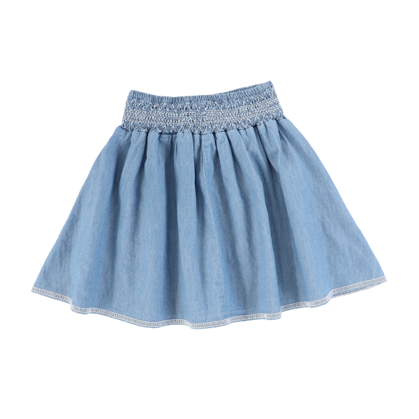 DENIM SMOCKED SKIRT