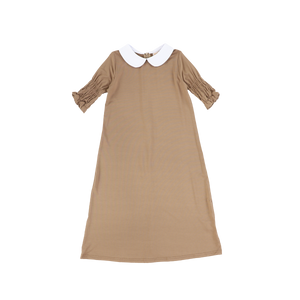 LS SMOCKED SLEEVE COLLAR MAXI
