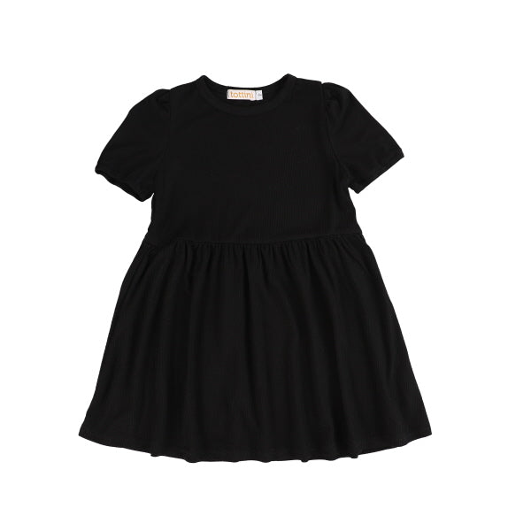 SS RIBBED GATHERED DRESS