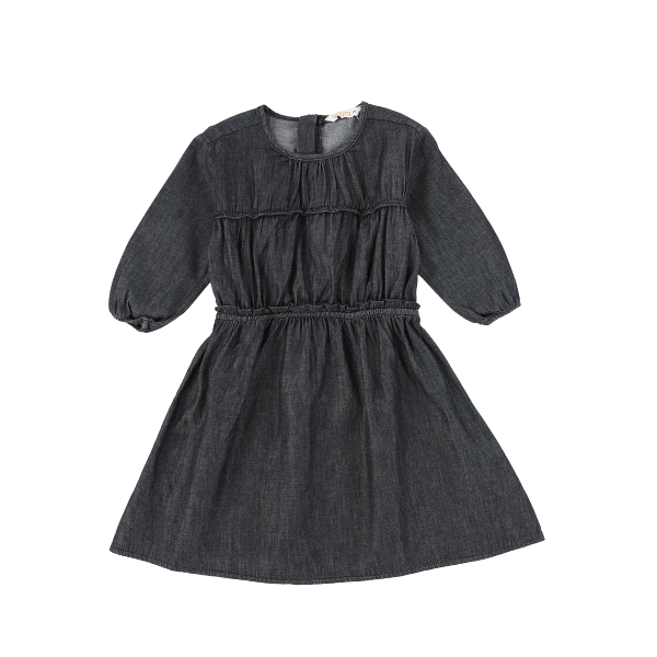LS DENIM GATHERED DRESS