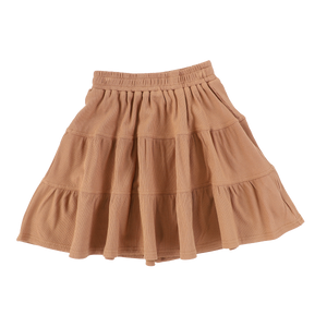 RIBBED TIERED SKIRT