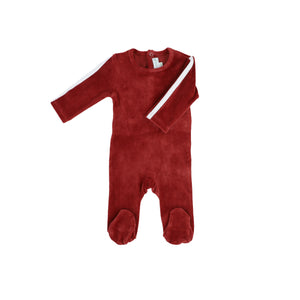 VELOUR FOOTIE WITH STRIPE
