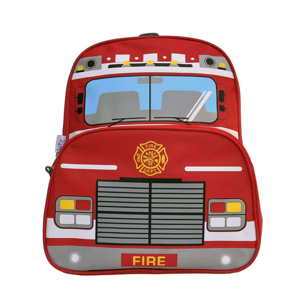 A front on view of a red, fire truck kids bag with a fire emblem.
