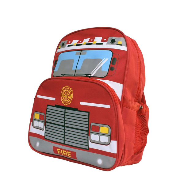 Red, fire truck backpack showing it's left side with the drink bottle holder.