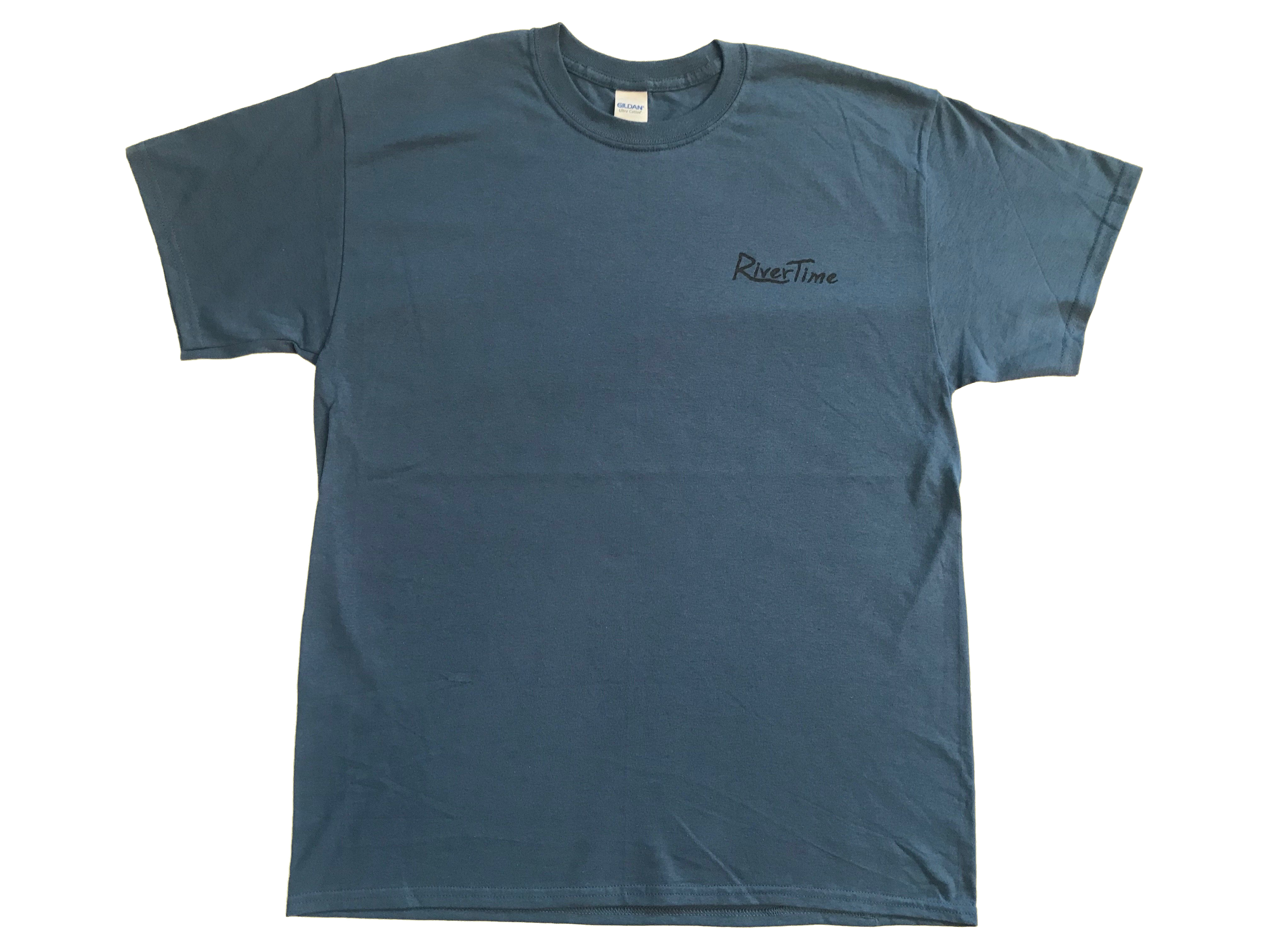 RiverTime Indigo Blue with Dark Gray Fish, Deer, Duck T-Shirt