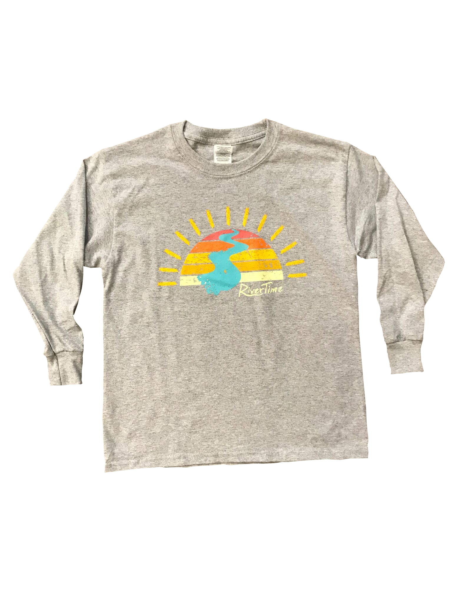 RiverTime Sunset on the River Gray Youth Long Sleeve T-Shirt