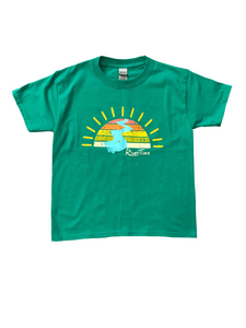 RiverTime Sunset on the River Green Youth T-Shirt