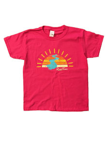 RiverTime Sunset on the River Dark Pink Youth T-Shirt