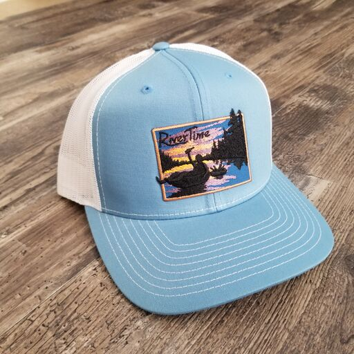 RiverTime Tuber Light Blue with White Mesh Richardson Trucker Hat