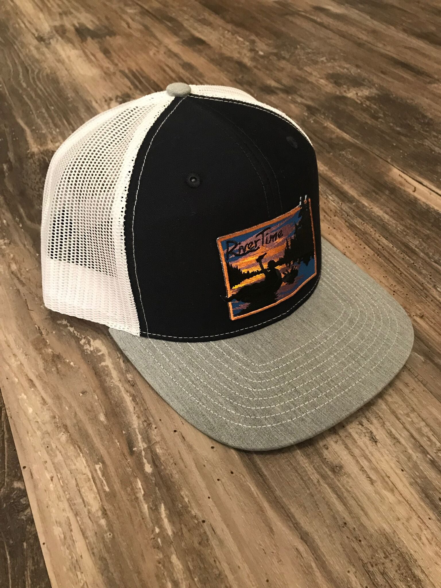 RiverTime Tuber Gray and Navy with White Mesh Richardson Trucker Hat