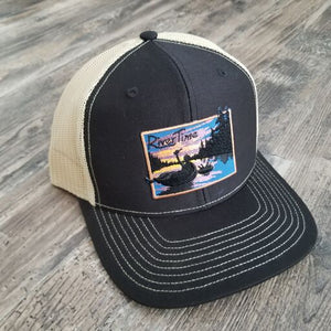 RiverTime Tuber Black with Vegas Gold Mesh Richardson Trucker Hat