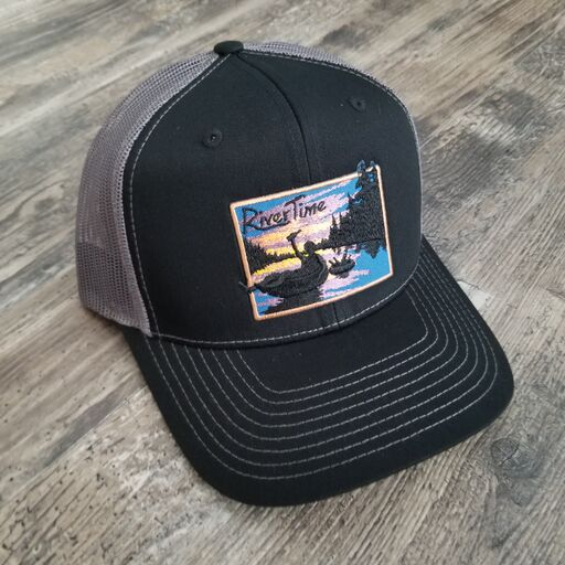 RiverTime Tuber Black with Gray Mesh Richardson Trucker Hat