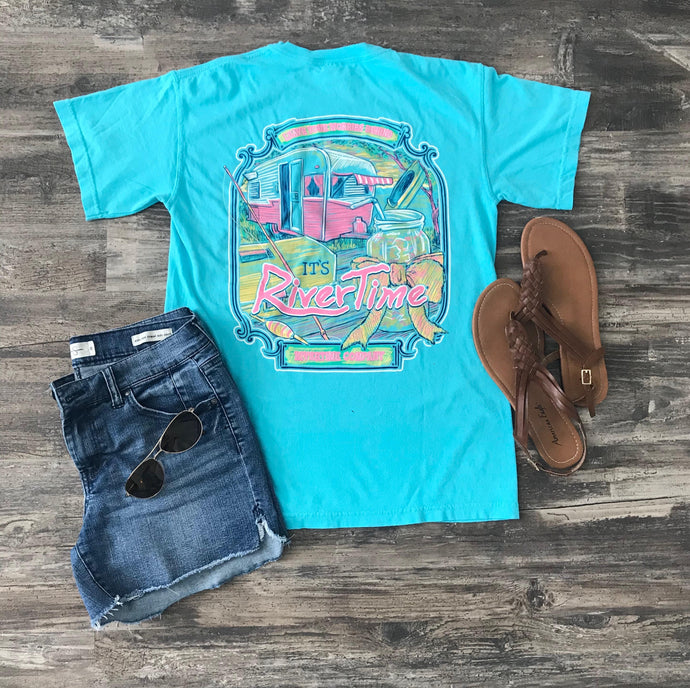 RiverTime Leave Your Worries Behind Lagoon Blue T-Shirt