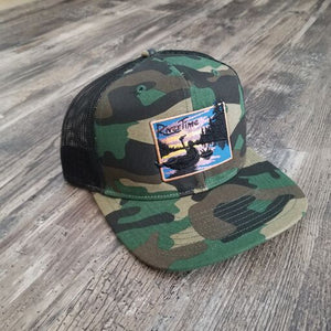 RiverTime Tuber Green Camo with Black Mesh Richardson Trucker Hat