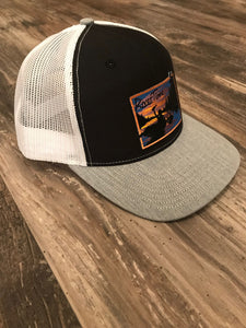 RiverTime Tuber Black and Gray with White Mesh Richardson Trucker Hat