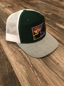 RiverTime Tuber Dark Green and Gray with White Mesh Richardson Trucker Hat