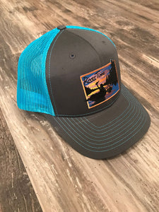 RiverTime Tuber Gray with Neon Blue Richardson Trucker Hat
