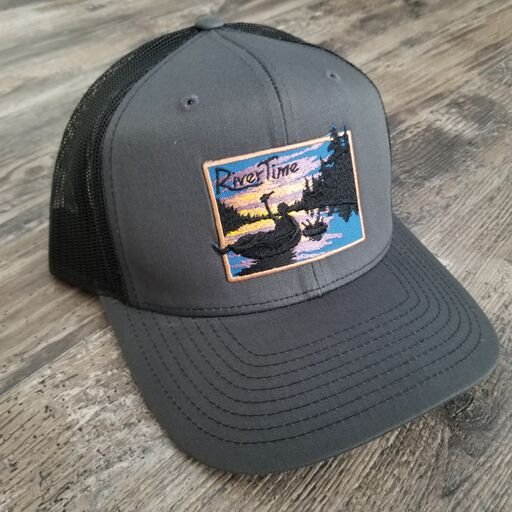 RiverTime Tuber Gray with Black Mesh Richardson Trucker Hat