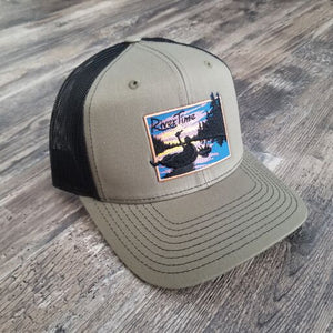 RiverTime Tuber Olive Green with Black Mesh Richardson Trucker Hat