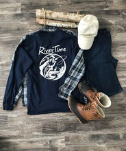 Load image into Gallery viewer, RiverTime Navy with Light Gray Fish, Deer, Duck Long Sleeve T-Shirt