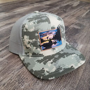 RiverTime Tuber Military Camo with Light Green Mesh Richardson Trucker Hat