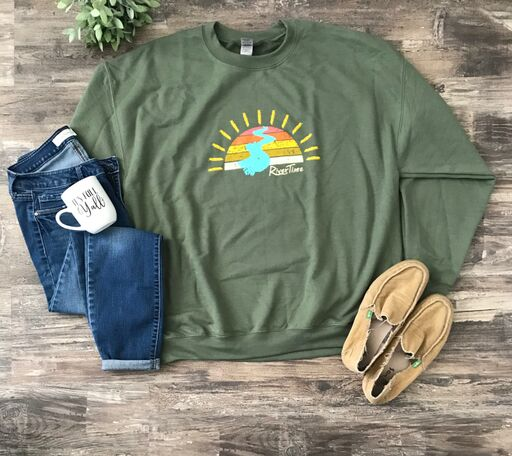 RiverTime Sunset on the River Military Green Sweatshirt