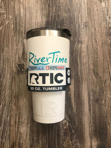 RiverTime White with Teal RTIC 30 oz Tumbler