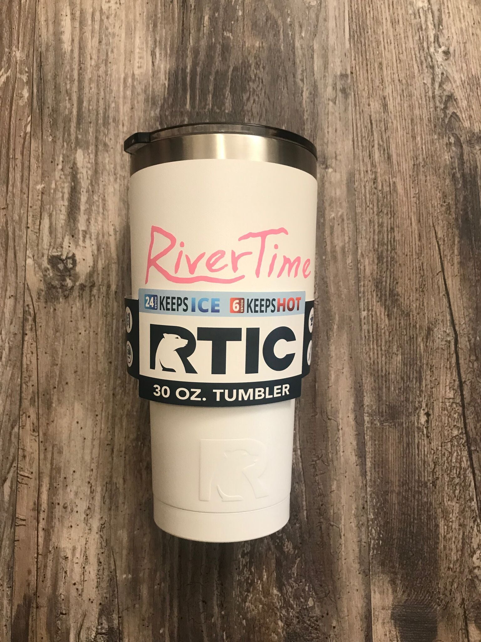 RiverTime White with Pink RTIC 30 oz Tumbler