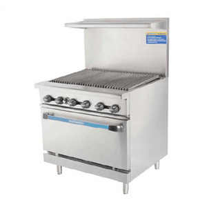"Turbo Air Liquid Propane Range Turbo Air TAR-36RB-LP 36"" Range w/ Full Charbroiler & Standard Oven, Liquid Propane"