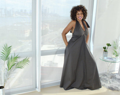 Grown Woman Vibes Halter Maxi Dress S-3X