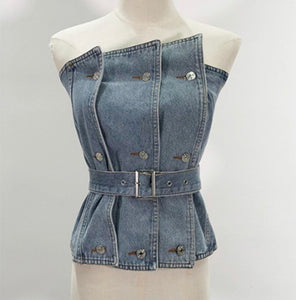 Denim Is The New Black Belted Top