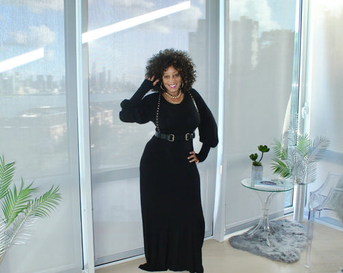 Casual Slay Puff Sleeve Maxi Dress ***SMALL BLACK ON SALE***
