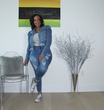 Load image into Gallery viewer, Denim On Denim 2pc Mother of  Pearl Jean Set