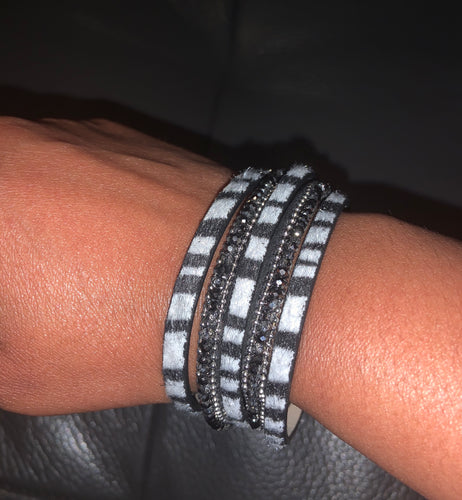 Beaded Zebra Faux Leather Bracelet