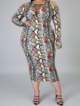Load image into Gallery viewer, Don't Bite Me Snake Print Dress