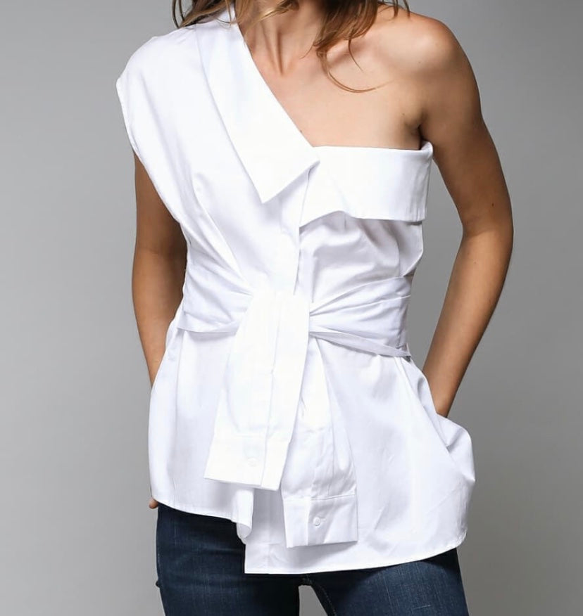 Cold Shoulder White Blouse