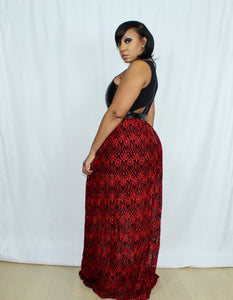 Leather And Lace Maxi Dress (Red Edition)